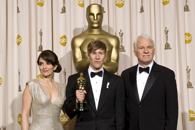 Academy Award®-winner Dustin Lance Black (center) with presenters (left to right) Tina Faye and Steve Martin backstage at the 81st Academy Awards® are presented live on the ABC Television network from The Kodak Theatre in Hollywood, CA, Sunday, February 22, 2009.