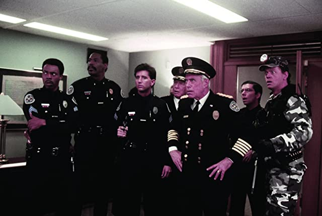Leslie Easterbrook, George Gaynes, David Graf, Bruce Mahler, Matt McCoy, George R. Robertson, Bubba Smith, and Michael Winslow in Police Academy 6: City Under Siege (1989)