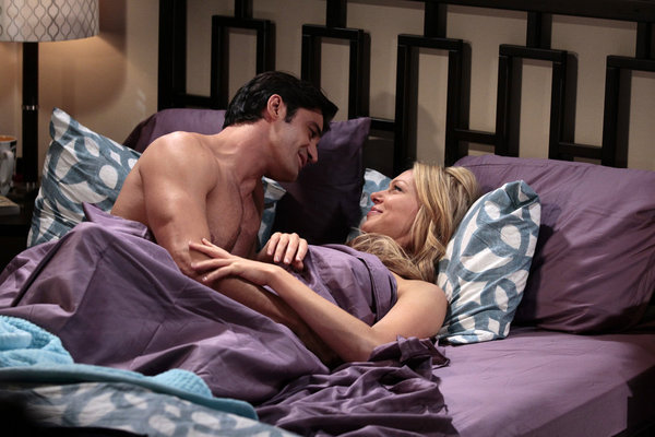 Laura Prepon and Gilles Marini in Are You There, Chelsea? (2012)