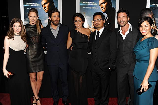 Frank Grillo, Jake Gyllenhaal, Anna Kendrick, Michael Peña, America Ferrera, Natalie Martinez, and Cody Horn at an event for End of Watch (2012)