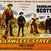 Randolph Scott, Angela Lansbury, Warner Anderson, and Michael Pate in A Lawless Street (1955)