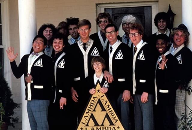 Anthony Edwards, Robert Carradine, Curtis Armstrong, Timothy Busfield, Andrew Cassese, Larry B. Scott, and Brian Tochi in Revenge of the Nerds (1984)