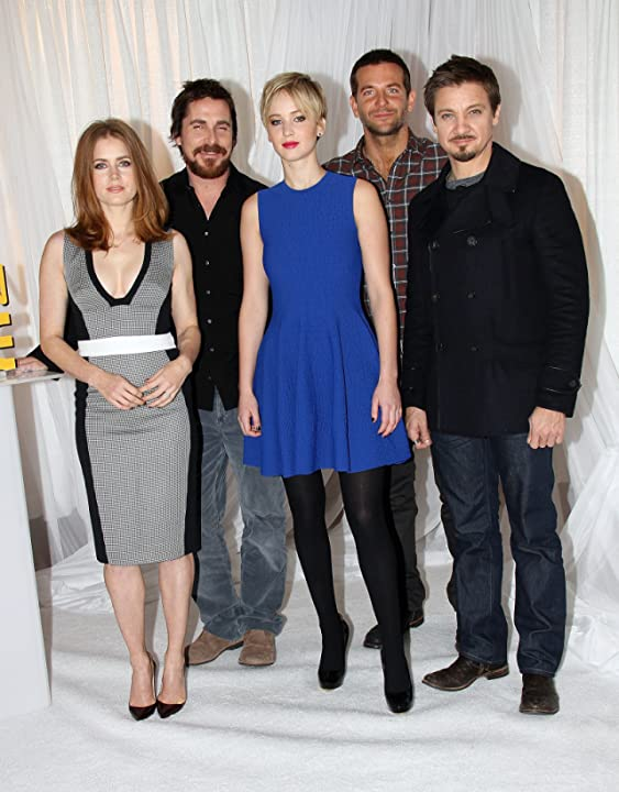 Christian Bale, Amy Adams, Bradley Cooper, Jeremy Renner, and Jennifer Lawrence at an event for American Hustle (2013)