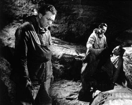 Peter Cushing, Robert Brown, and Forrest Tucker in The Abominable Snowman (1957)