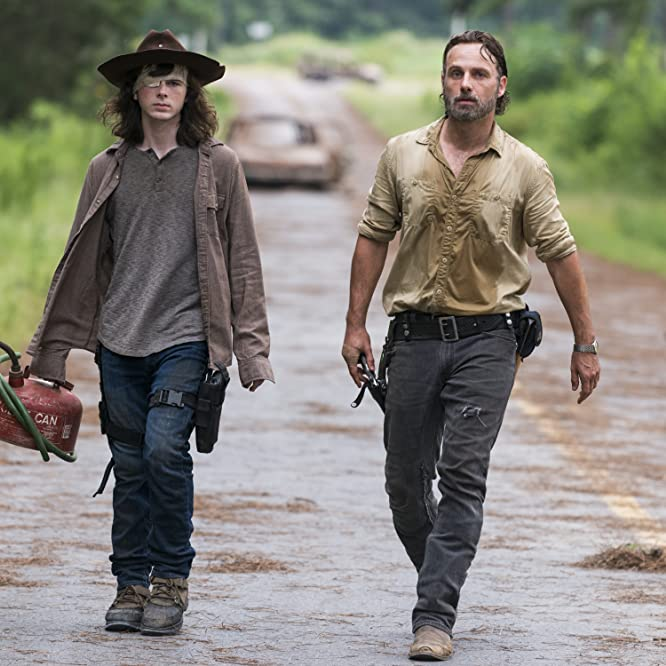 Andrew Lincoln and Chandler Riggs in The Walking Dead (2010)