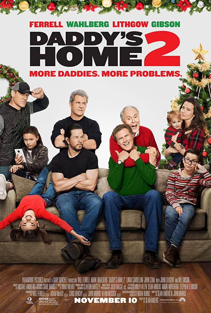 Mel Gibson, Mark Wahlberg, John Lithgow, Will Ferrell, Linda Cardellini, and John Cena in Daddy's Home 2 (2017)