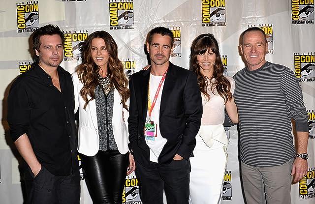 Kate Beckinsale, Jessica Biel, Bryan Cranston, Colin Farrell, and Len Wiseman at Total Recall (2012)