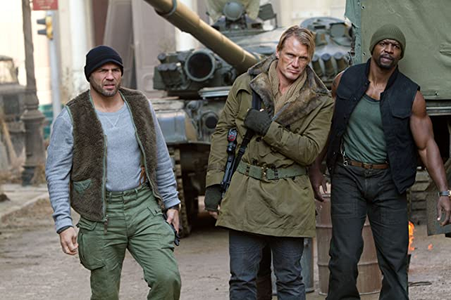 Dolph Lundgren, Terry Crews, and Randy Couture in The Expendables 2 (2012)