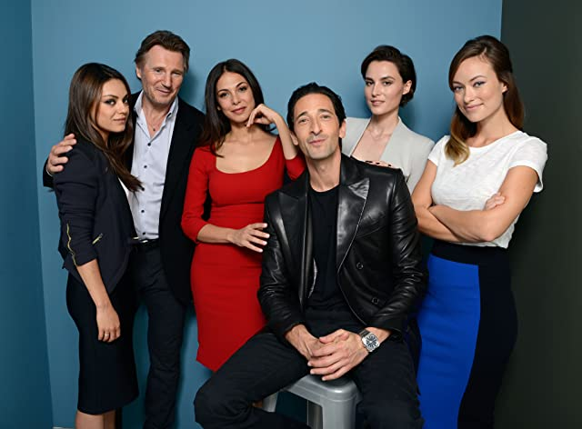 Liam Neeson, Adrien Brody, Mila Kunis, Olivia Wilde, Moran Atias, and Loan Chabanol at an event for Third Person (2013)