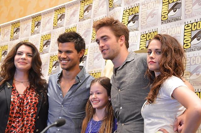 Taylor Lautner, Robert Pattinson, Stephenie Meyer, and Mackenzie Foy at The Twilight Saga: Breaking Dawn - Part 2 (2012)
