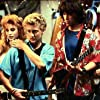 Bill & Ted's Excellent Adventure - WYLD STALLIONS band scene. In this photo, Kimberley Kates, Alex Winter, Keanu Reeves, Diane Franklin.