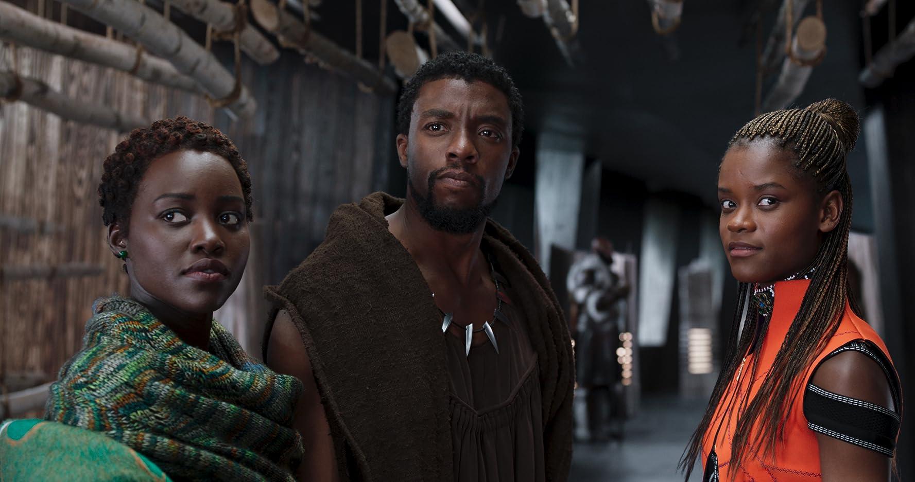 Chadwick Boseman, Lupita Nyong'o, and Letitia Wright in Black Panther (2018)