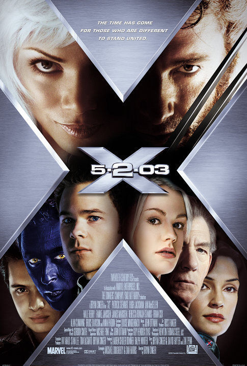 Famke Janssen, Halle Berry, Alan Cumming, Anna Paquin, Ian McKellen, Shawn Ashmore, Hugh Jackman, and Aaron Stanford in X2 (2003)