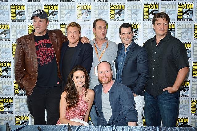 Adam Baldwin, Nathan Fillion, Sean Maher, Tim Minear, Alan Tudyk, Joss Whedon, and Summer Glau at Firefly (2002)