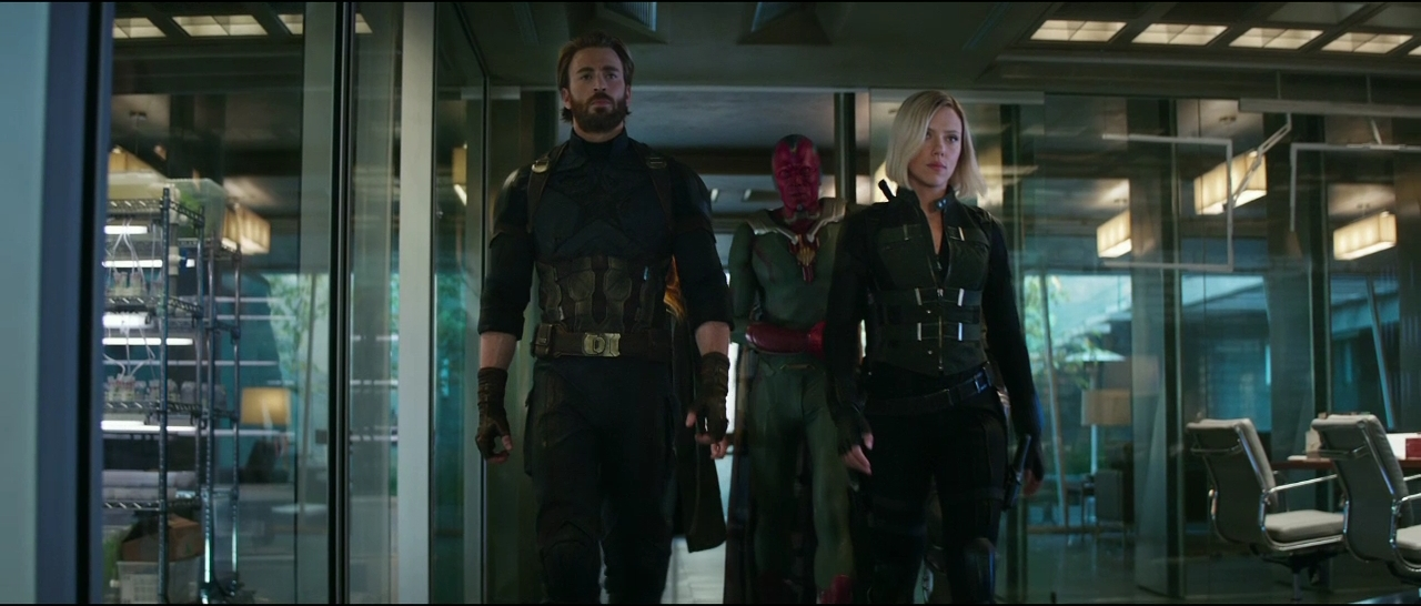 Paul Bettany, Chris Evans, and Scarlett Johansson in Avengers: Infinity War (2018)