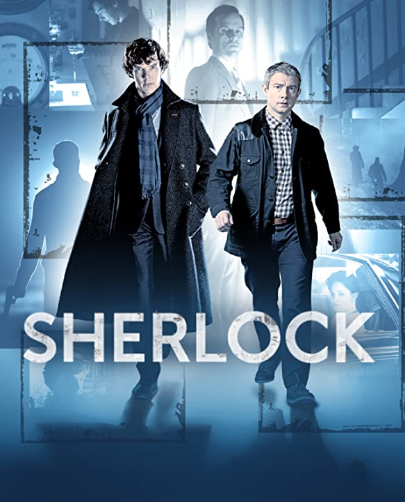 Martin Freeman, Andrew Scott, Russell Tovey, Benedict Cumberbatch, and Lara Pulver in Sherlock (2010)