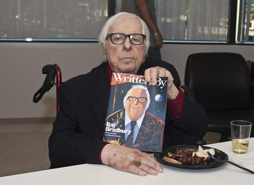 Ray Bradbury at the Writers Guild of America, West office in Los Angeles for a discussion panel event
