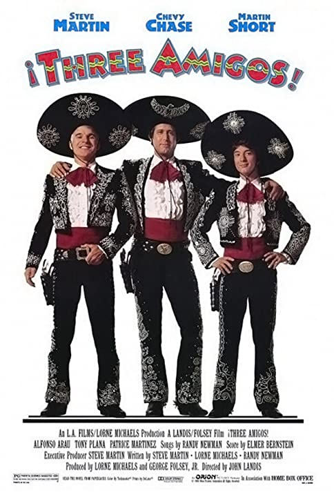Steve Martin, Chevy Chase, and Martin Short in ¡Three Amigos! (1986)