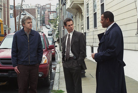 Kevin Bacon, Tim Robbins, and Laurence Fishburne in Mystic River (2003)