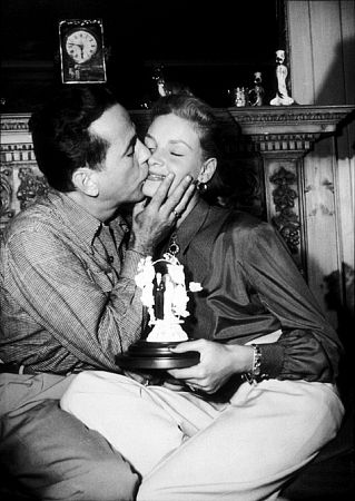 Humphrey Bogart and Lauren Bacall at their Benedict Canyon home, CA, circa 1945.
