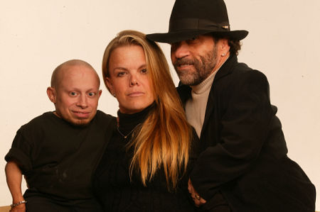 Verne Troyer, Elena Fondacaro, and Phil Fondacaro.