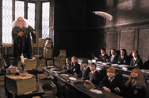 Warwick Davis, Rupert Grint, Devon Murray, Daniel Radcliffe, and Emma Watson in Harry Potter and the Sorcerer's Stone (2001)