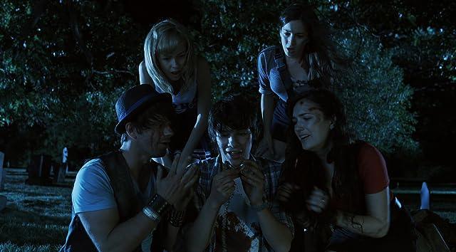 Still of Tim Doiron, Devon Bostick, April Mullen, Brittany Allen and Martha MacIsaac in Dead Before Dawn 3D. www.deadbeforedawn3d.com