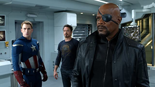 Samuel L. Jackson, Robert Downey Jr., and Chris Evans in The Avengers (2012)