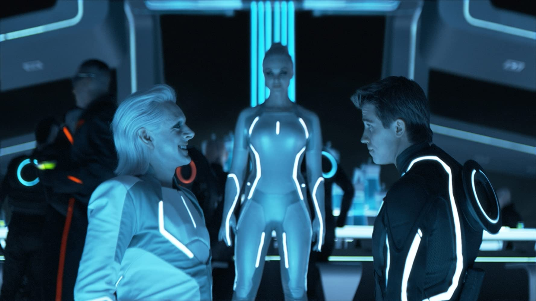 Michael Sheen, Garrett Hedlund, and Beau Garrett in Tron (2010)