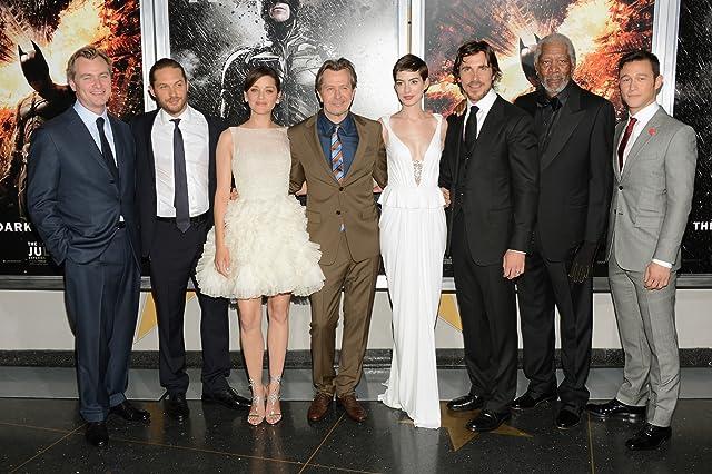 Morgan Freeman, Gary Oldman, Christian Bale, Anne Hathaway, Marion Cotillard, Joseph Gordon-Levitt, Tom Hardy, and Christopher Nolan at The Dark Knight Rises (2012)