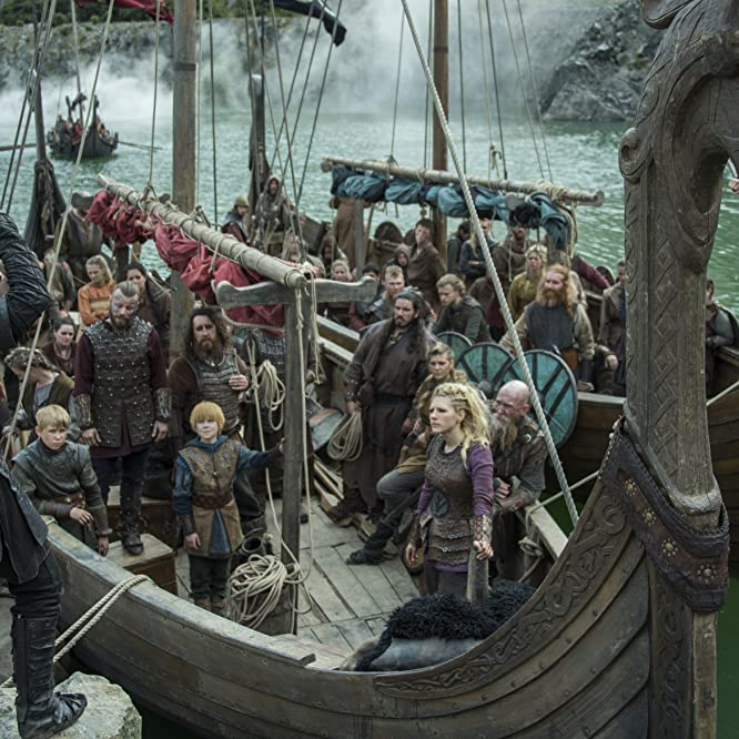 Peter Franzén, Katheryn Winnick, Travis Fimmel, and Edvin Endre in Vikings (2013)