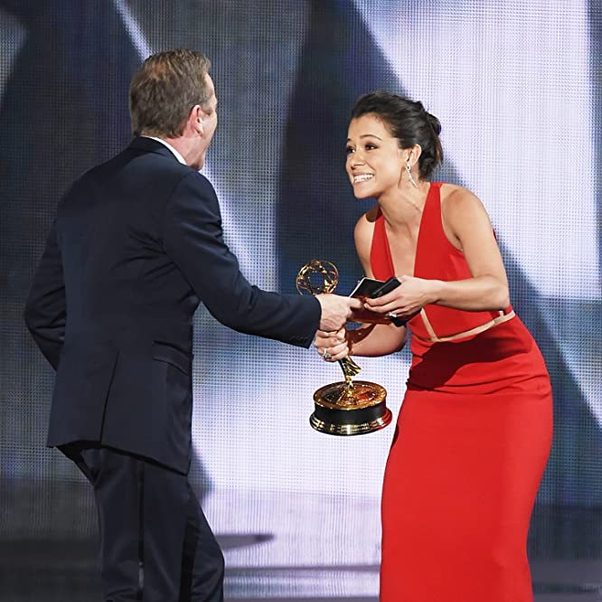 Kiefer Sutherland and Tatiana Maslany at an event for The 68th Primetime Emmy Awards (2016)
