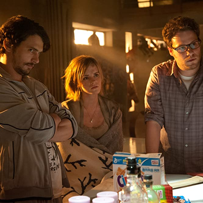 James Franco, Seth Rogen, and Emma Watson in This Is the End (2013)