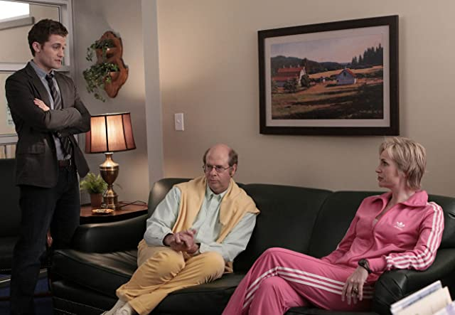 Jane Lynch, Stephen Tobolowsky, and Matthew Morrison in Glee (2009)