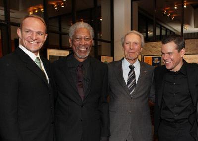 Clint Eastwood, Morgan Freeman, Matt Damon, and Francois Pienaar at Invictus (2009)