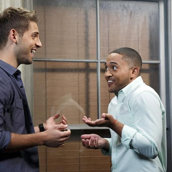 Tahj Mowry and Jean-Luc Bilodeau in Baby Daddy (2012)