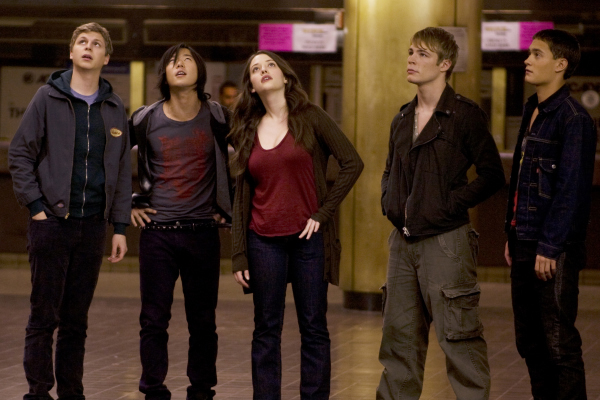 Michael Cera, Kat Dennings, Aaron Yoo, Rafi Gavron, and Jonathan B. Wright in Nick and Norah's Infinite Playlist (2008)