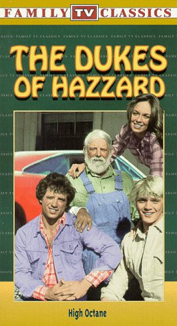 Catherine Bach, Denver Pyle, John Schneider, and Tom Wopat in The Dukes of Hazzard (1979)