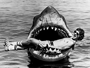 Steven Spielberg and Bruce the shark behind the scenes in 'Jaws'