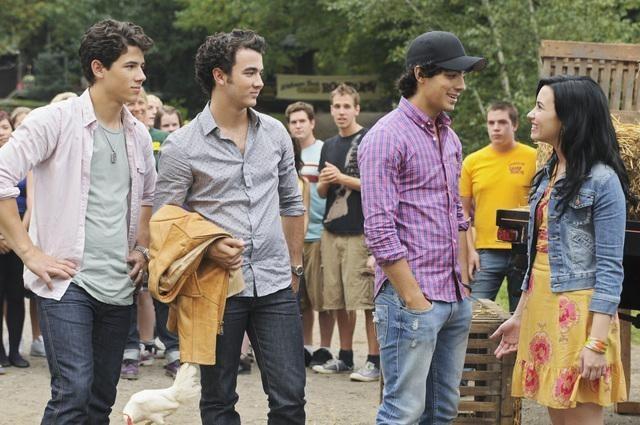 Demi Lovato, Kevin Jonas, Joe Jonas, and Nick Jonas in Camp Rock 2: The Final Jam (2010)