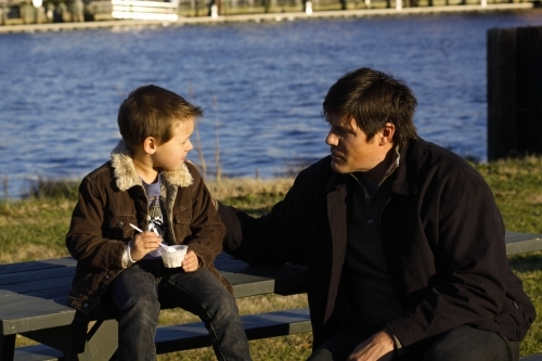 Paul Johansson and Jackson Brundage in One Tree Hill (2003)