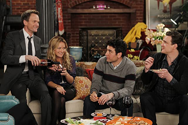 Neil Patrick Harris, Jason Segel, Josh Radnor, and Becki Newton in How I Met Your Mother (2005)