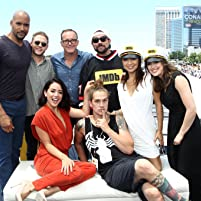 Ming-Na Wen, Kevin Smith, Henry Simmons, Clark Gregg, Iain De Caestecker, Jason Mewes, Chloe Bennet, and Elizabeth Henstridge at an event for IMDb at San Diego Comic-Con (2016)