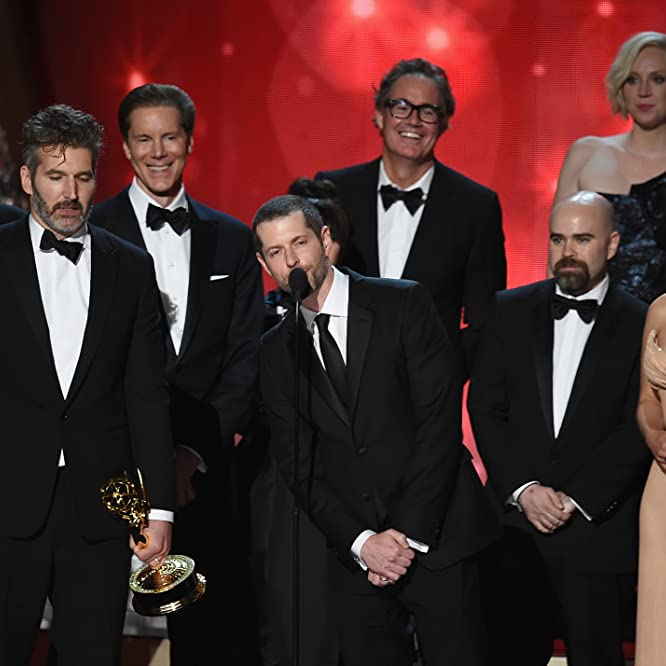 David Benioff, D.B. Weiss, Emilia Clarke, and Gwendoline Christie at an event for The 68th Primetime Emmy Awards (2016)
