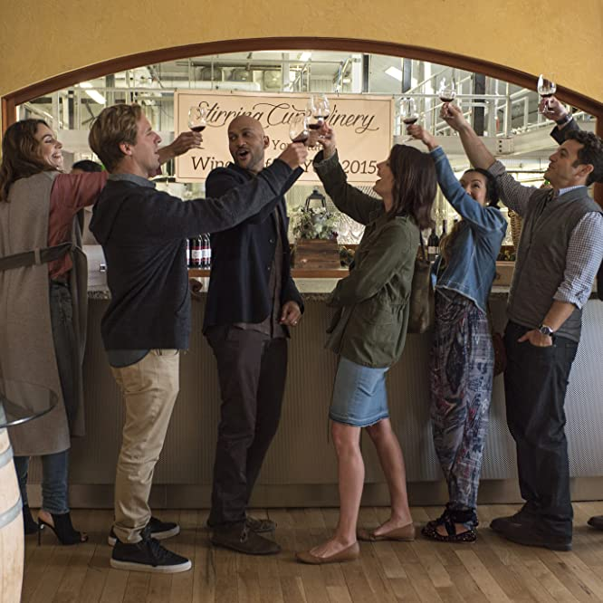 Fred Savage, Nat Faxon, Annie Parisse, Jae Suh Park, Cobie Smulders, Keegan-Michael Key, and Billy Eichner in Friends from College (2017)