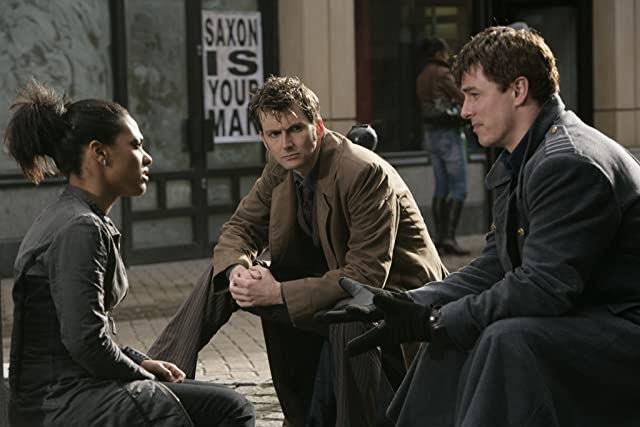 John Barrowman, David Tennant, and Freema Agyeman in Doctor Who (2005)