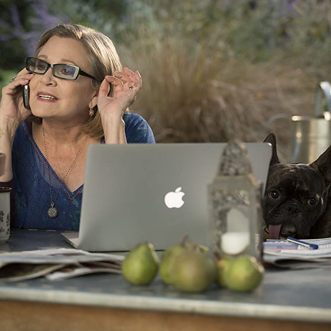 Carrie Fisher and Gary the Dog in Catastrophe (2015)
