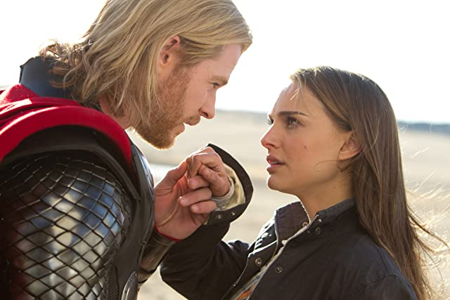 Natalie Portman and Chris Hemsworth in Thor (2011)