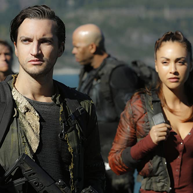 Will E. McDonald, Richard Harmon, Lindsey Morgan, and Joseph John Coleman in The 100 (2014)