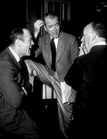 James Stewart with Henry Fonda and Alfred Hitchcock, 1957.